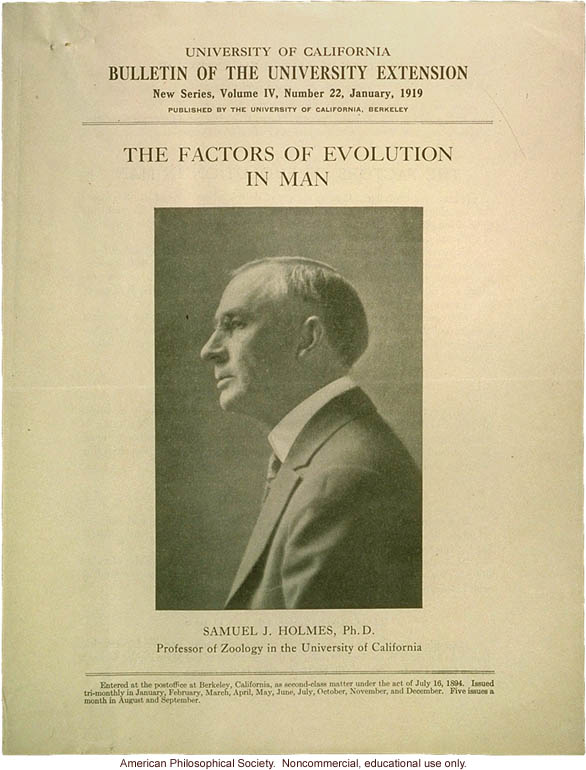 """The factors of evolution in man"", course offered by Samuel Holmes at University of California, Berkeley"