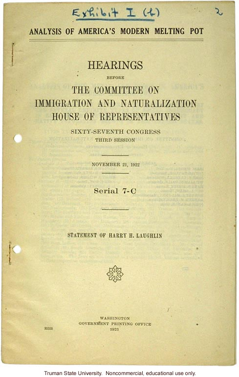 """Analysis of America's Modern Melting Pot,"" Harry H. Laughlin testimony before the House Committee on Immigration and Naturalization"