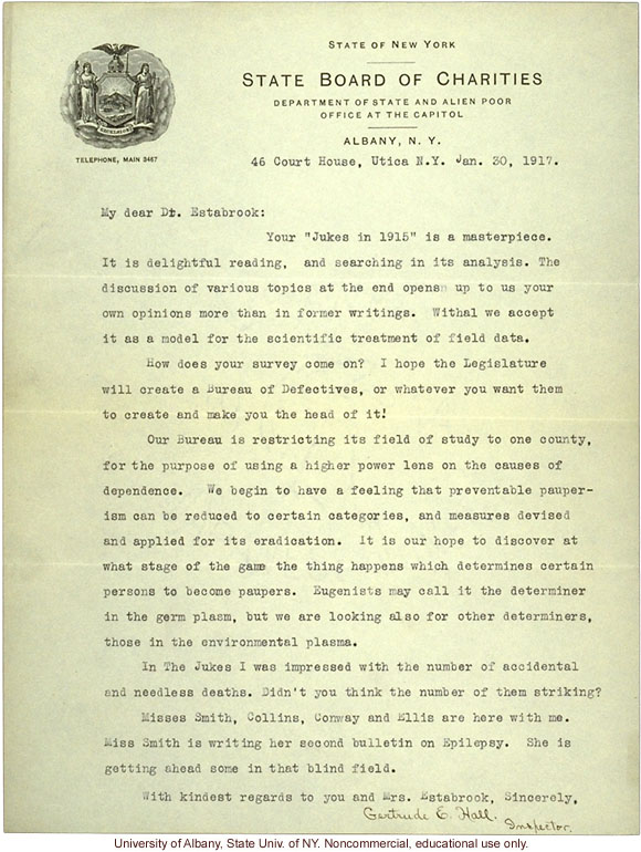 G. Hall (NY State Board of Charities) letter to A.H. Estabrook, about The Jukes in 1915 and genetic vs. environmental causes of pauperism (1/30/1917)
