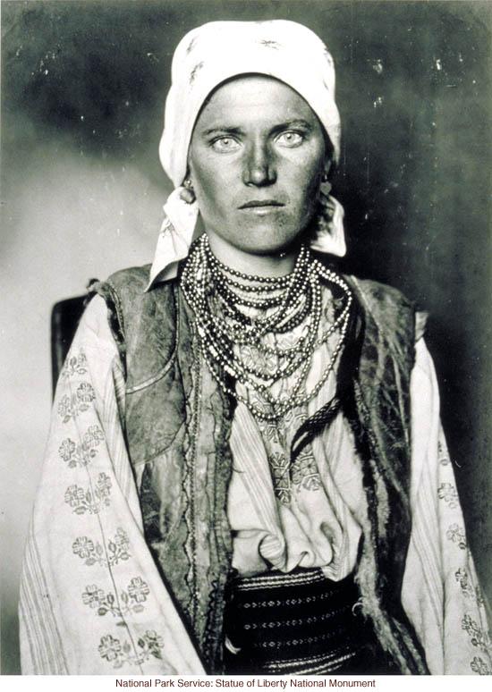 Gypsy woman at Ellis Island (Photograph by Augustus Sherman