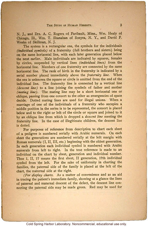 """The Study of Human Heredity,"" by Davenport, Laughlin, Weeks, Johnstone, and Goddard, Eugenics Record Office Bulletin No. 2 (3)"