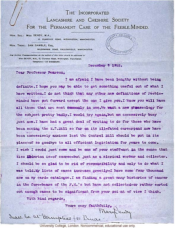 Mary Dendy Letter To Karl Pearson Follow Up On Definition