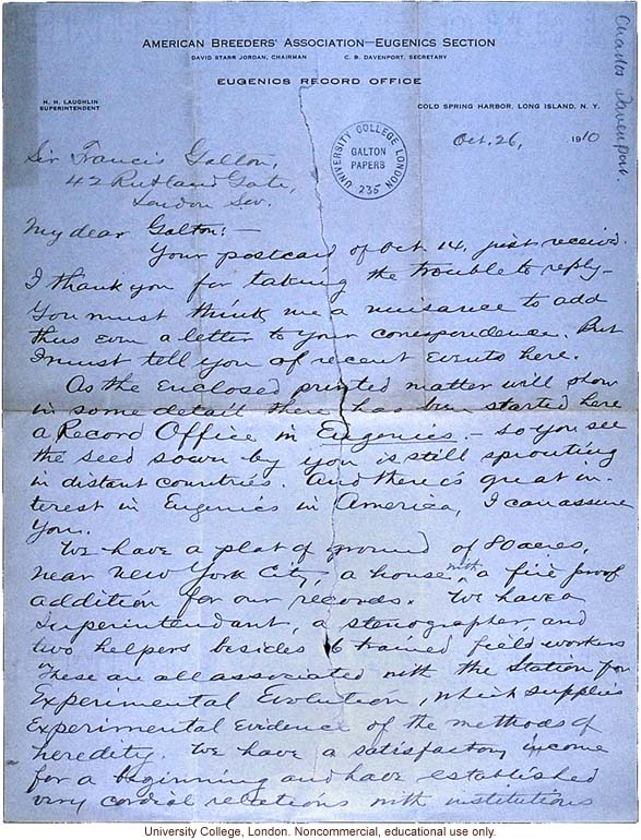 Charles Davenport letter to Francis Galton, about opening