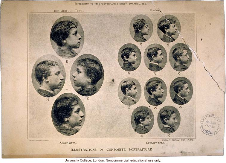 """Illustrations of Composite Portraiture, The Jewish Type,"" by Francis Galton, The Photographic News (4/17/1885) with two original photographs"